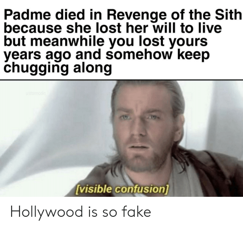 Fake, Revenge, and Sith: Padme died in Revenge of the Sith  because she lost her will to live  but meanwhile you lost yours  vears ago and somehow keep  chugging along  visible confusion] Hollywood is so fake
