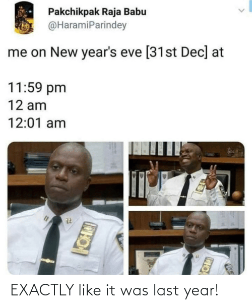 exactly: Pakchikpak Raja Babu  @HaramiParindey  me on New year's eve [31st Dec] at  11:59 pm  12 am  12:01 am  CH EXACTLY like it was last year!