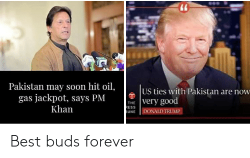 Donald Trump, Politics, and Soon...: Pakistan may soon hit oil,  US ties with Pakistan are now  gas jackpot, says PMvery good  Khan  ESS  UNE DONALD TRUMP Best buds forever