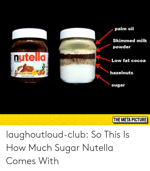 Club, Tumblr, and Blog: palm oil  Skimmed milk  powder  nutella  Low fat cocoa  hazelnuts  sugar  THE META PICTURE laughoutloud-club:  So This Is How Much Sugar Nutella Comes With
