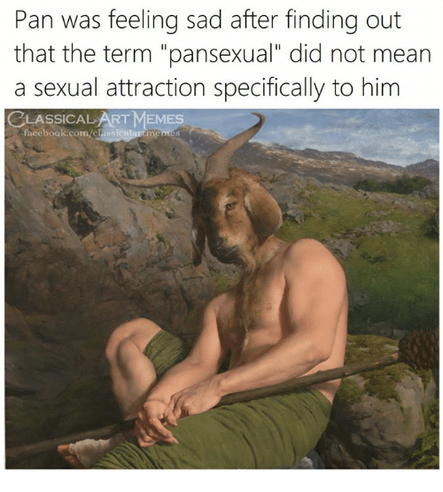 """Facebook, Memes, and facebook.com: Pan was feeling sad after finding out  that the term """"pansexual"""" did not mean  a sexual attraction specifically to him  CLASSICAL ART MEMES  facebook.com/classicalartme"""