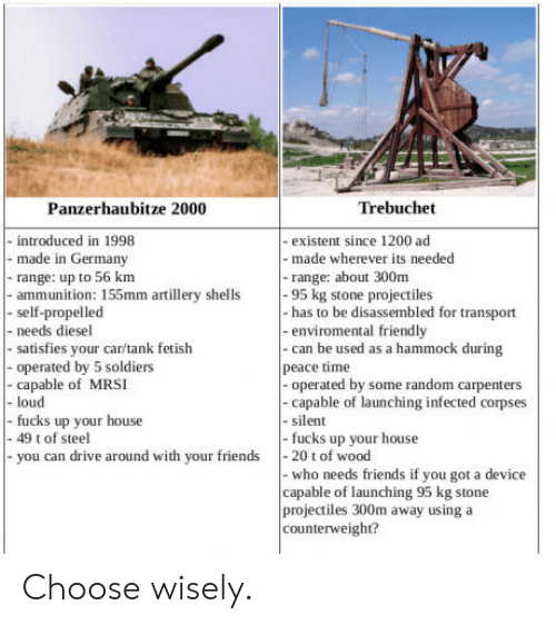 trebuchet: Panzerhaubitze 2000  Trebuchet  - introduced in 1998  - made in Germany  - range: up to 56  - ammunition: 155mm artillery shells95 kg stone projectiles  - self-propelled  - needs diesel  - satisfies your car/tank fetish  - operated by 5 soldiers  - capable of MRSI  - existent since 1200 ad  - made wherever its needed  -range: about 300m  - has to be disassembled for transport  -enviromental friendly  - can be used as a hammock during  peace time  -operated by some random carpenters  -capable of launching infected corpses  - silent  fucks up your house  loud  fucks up your house  you can drive around with your friends20 t of wood  - 49 t of steel  - who needs friends if you got a device  capable of launching 95 kg stone  projectiles 300m away using a  counterweight? Choose wisely.