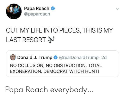 Life, Trump, and Papa Roach: Papa Roach  @paparoach  CUT MY LIFE INTO PIECES, THIS IS MY  LAST RESORT  @realDonaldTrump 2d  Donald J. Trump  NO COLLUSION, NO OBSTRUCTION, TOTAL  EXONERATION. DEMOCRAT WITCH HUNT! Papa Roach everybody…