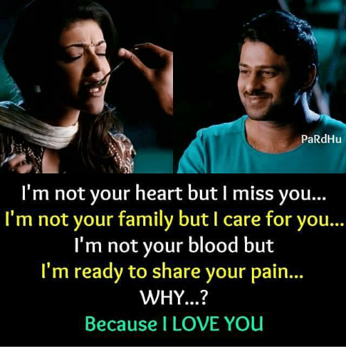 I Love You, Man: PaRdHu  I'm not your heart but l miss you  I'm not your family but l care for you...  I'm not your blood but  I'm ready to share your pain...  WHY...?  Because I LOVE YOu
