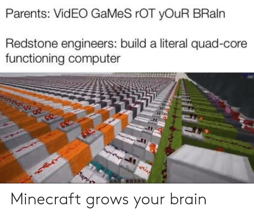 rot: Parents: VidEO GaMeS rOT yOuR BRaln  Redstone engineers: build a literal quad-core  functioning computer Minecraft grows your brain