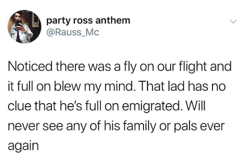 Family, Party, and Flight: party ross anthem  @Rauss_Mc  Noticed there was a fly on our flight and  it full on blew my mind. That lad has no  clue that he's full on emigrated. Will  never see any of his family or pals ever  again