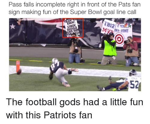 Fall, Goals, and Nfl: Pass falls incomplete right in front of the Pats fan  sign making fun of the Super Bowl goal line call The football gods had a little fun with this Patriots fan