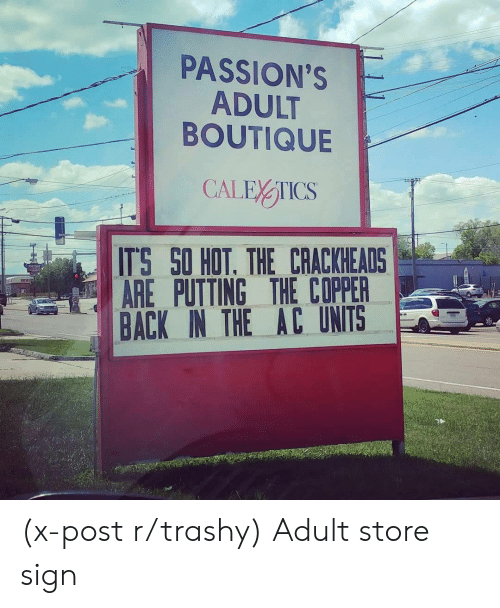 Trashy, Back, and Copper: PASSION'S  ADULT  BOUTIQUE  ITS SO HOT. THE CRACKHEADS  AREPUTTING THE COPPER  BACK IN THE AC UNITS (x-post r/trashy) Adult store sign