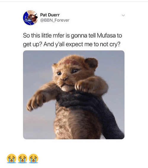 Memes, Mufasa, and Forever: Pat Duerr  @BBN Forever  So this little mfer is gonna tell Mufasa to  get up? And y'all expect me to not cry? 😭😭😭