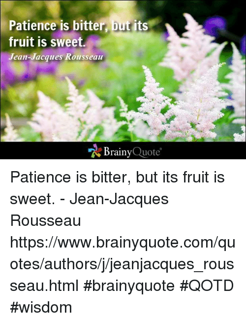 Memes, Patience, and Quotes: Patience is bitter  t its  fruit is sweet.  Jean-Jacques Rousseau  Brainy  Quote Patience is bitter, but its fruit is sweet. - Jean-Jacques Rousseau https://www.brainyquote.com/quotes/authors/j/jeanjacques_rousseau.html #brainyquote #QOTD #wisdom