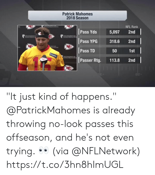 """Memes, Nfl, and 🤖: Patrick Mahomes  2018 Season  NFL Rank  KANSAS HEALTH SYSTLM  TEM  Pass Yds 5,097 2nd  寶1  THE UNIVERSITY  KANSAS HEALTH  HE UNIVERSITY OF  s HEALTH SYSTİ  Pass YPG318.6 2nd  b七  ERSITYOF  LTH SYSTEM  Pass TD  1st  50  HE UNIVERSITY OF  S HEALTH SYSTI  Passer Rtg. 113.8 2nd """"It just kind of happens.""""  @PatrickMahomes is already throwing no-look passes this offseason, and he's not even trying. 👀 (via @NFLNetwork) https://t.co/3hn8hImUGL"""
