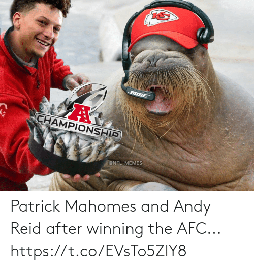 patrick: Patrick Mahomes and Andy Reid after winning the AFC... https://t.co/EVsTo5ZlY8