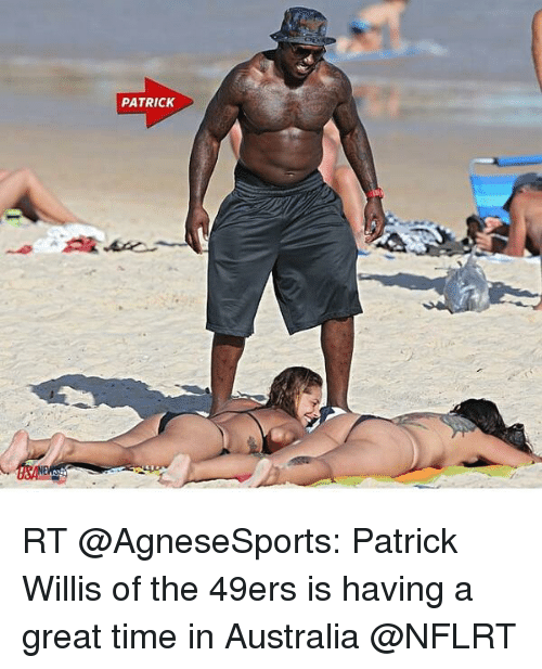 patrick willis: PATRICK RT @AgneseSports: Patrick Willis of the 49ers is having a great time in Australia @NFLRT
