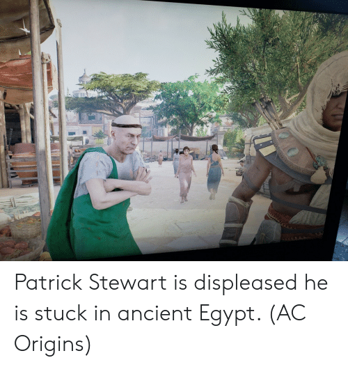 ancient egypt: Patrick Stewart is displeased he is stuck in ancient Egypt. (AC Origins)