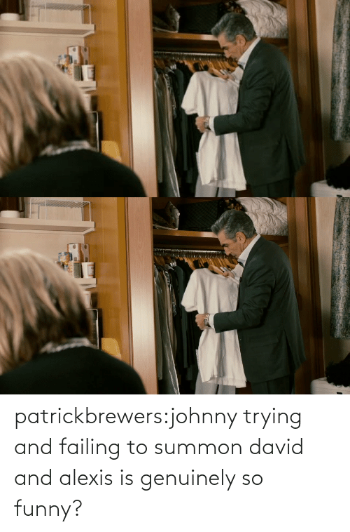 So Funny: patrickbrewers:johnny trying and failing to summon david and alexis is genuinely so funny?