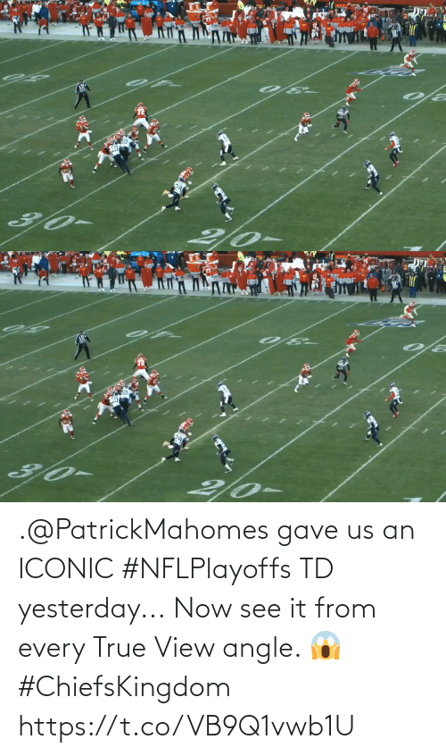 View: .@PatrickMahomes gave us an ICONIC #NFLPlayoffs TD yesterday...  Now see it from every True View angle. 😱 #ChiefsKingdom https://t.co/VB9Q1vwb1U
