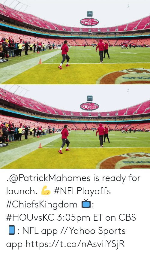 ready: .@PatrickMahomes is ready for launch. 💪 #NFLPlayoffs #ChiefsKingdom  📺: #HOUvsKC 3:05pm ET on CBS 📱: NFL app // Yahoo Sports app https://t.co/nAsviIYSjR