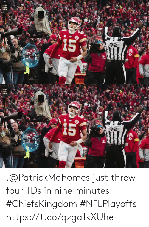 Threw: .@PatrickMahomes just threw four TDs in nine minutes. #ChiefsKingdom #NFLPlayoffs https://t.co/qzga1kXUhe
