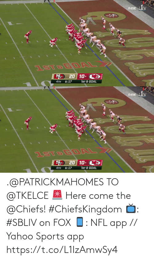 Chiefs: .@PATRICKMAHOMES TO @TKELCE 🚨  Here come the @Chiefs! #ChiefsKingdom  📺: #SBLIV on FOX 📱: NFL app // Yahoo Sports app https://t.co/L1IzAmwSy4