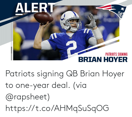 One Year: Patriots signing QB Brian Hoyer to one-year deal. (via @rapsheet) https://t.co/AHMqSuSqOG