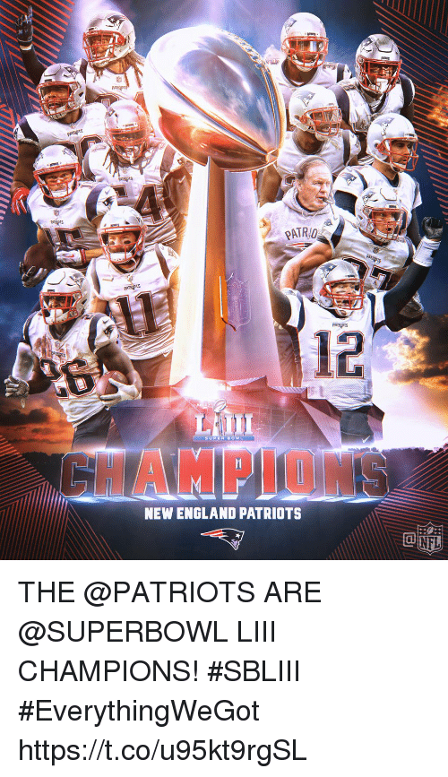 England Patriots: PATRO  12  SUPUR BOWL  HAMPLON  NEW ENGLAND PATRIOTS THE @PATRIOTS ARE @SUPERBOWL LIII CHAMPIONS! #SBLIII #EverythingWeGot https://t.co/u95kt9rgSL