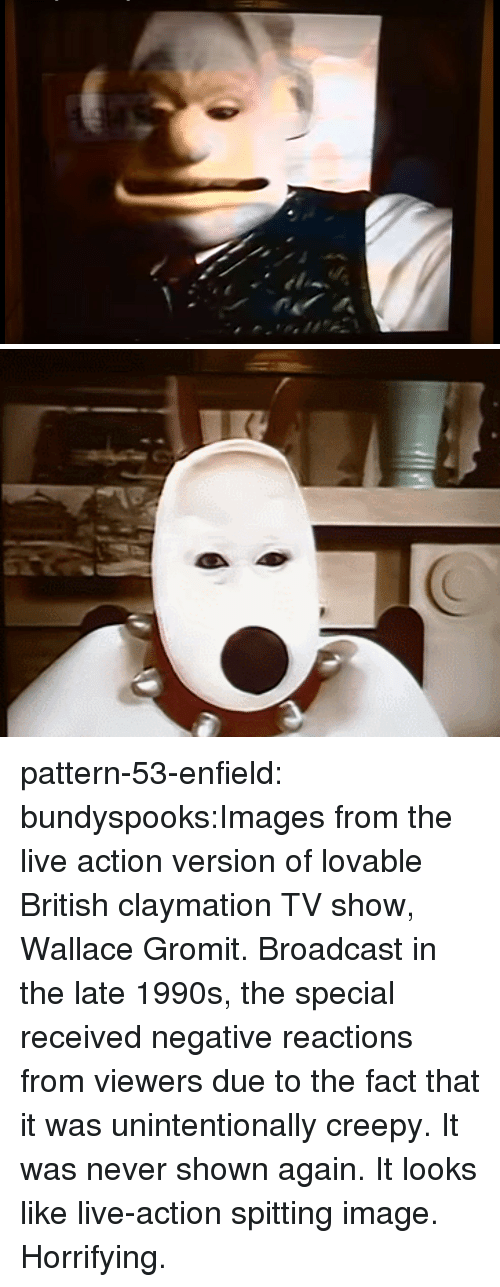 Creepy, Tumblr, and youtube.com: pattern-53-enfield:  bundyspooks:Images from the live action version of lovable British claymation TV show, Wallace  Gromit. Broadcast in the late 1990s, the special received negative reactions from viewers due to the fact that it was unintentionally creepy. It was never shown again.  It looks like live-action spitting image. Horrifying.