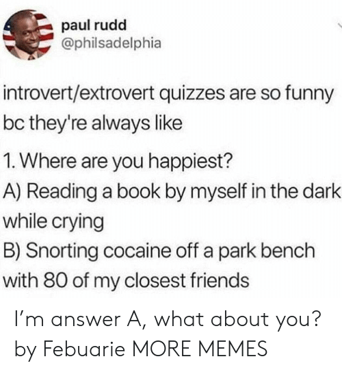 bench: paul rudd  @philsadelphia  introvert/extrovert quizzes are so funny  bc they're always like  1. Where are you happiest?  A) Reading a book by myself in the dark  while crying  B) Snorting cocaine off a park bench  with 80 of my closest friends I'm answer A, what about you? by Febuarie MORE MEMES
