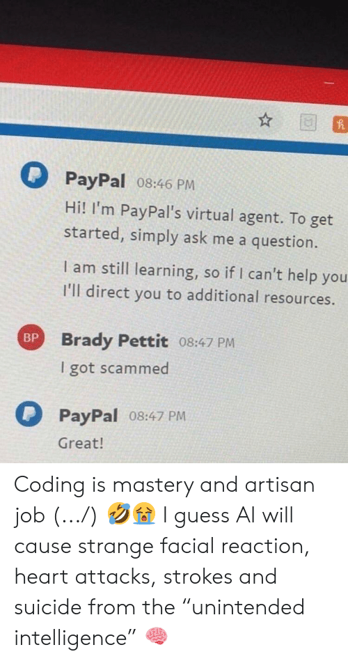 """Guess, Heart, and Help: PayPal 08:46 PM  Hi! I'm PayPal's virtual agent. To get  started, simply ask me a question.  I am still learning, so if I can't help you  I'll direct you to additional resources.  Brady Pettit 08:47 PM  I got scammed  BP  PayPal o8:47 PM  Great! Coding is mastery and artisan job (.../) 🤣😭 I guess AI will cause strange facial reaction, heart attacks, strokes and suicide from the """"unintended intelligence"""" 🧠"""