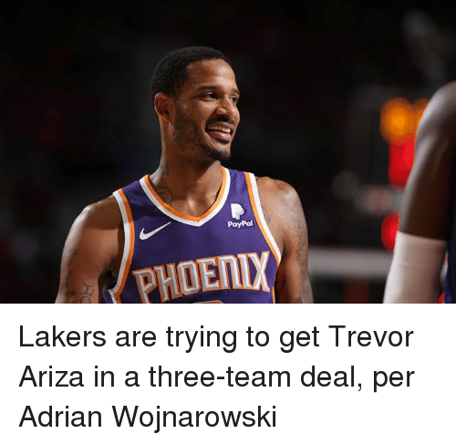 Ariza: PayPal  PHDENL Lakers are trying to get Trevor Ariza in a three-team deal, per Adrian Wojnarowski