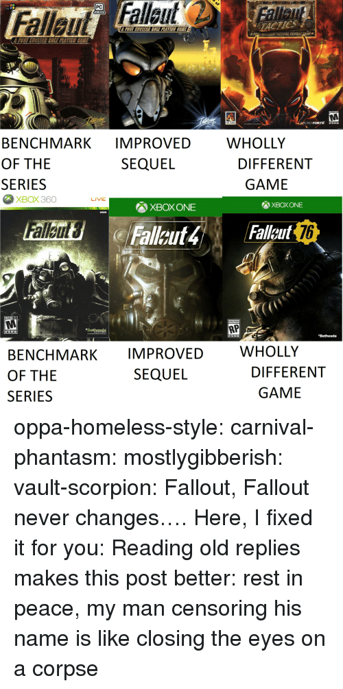xbox one: PC  TACTICS  POST MUGLEAR COLE PLAVINE CEME  A  uv-EAR TACTICAL COMB  Ee  MATURE  RO FORTE ERE  WHOLLY  BENCHMARK IMPROVED  OF THE  SERIES  SEQUEL  DIFFERENT  GAME  XBOX360  LIVE  XBOX ONE  XBOX ONE  76  MATURE 17+  RP  Bethesda  Bethesda  WHOLLY  BENCHMARK IMPROVED  OF THE  SERIES  SEQUEL  DIFFERENT  GAME oppa-homeless-style: carnival-phantasm:  mostlygibberish:  vault-scorpion: Fallout, Fallout never changes…. Here, I fixed it for you:  Reading old replies makes this post better: rest in peace, my man   censoring his name is like closing the eyes on a corpse