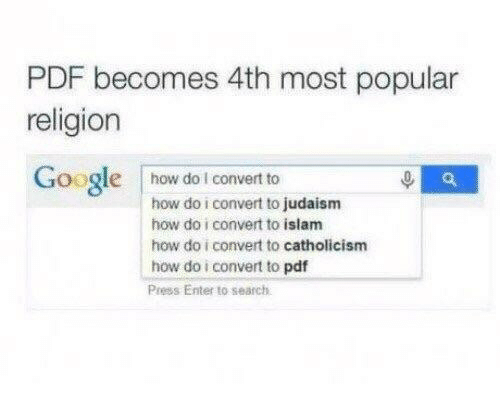 Islam: PDF becomes 4th most popular  religion  Google how dol convert to  how do i convert to judaism  how do i convert to islam  how do i convert to catholicism  how do i convert to pdf  Press Enter to search