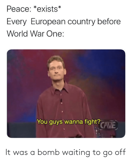 Peace: Peace: *exists*  Every European country before  World War One:  You guys wanna fight? CAVE It was a bomb waiting to go off