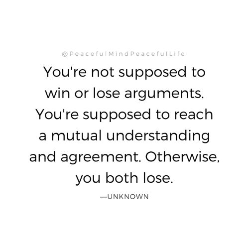 Memes, Understanding, and 🤖: @PeacefulMindPeacefulLife  You're not supposed to  win or lose arguments  You're supposed to reach  a mutual understanding  and agreement. Otherwise,  you both lose.  ーUNKNOWN