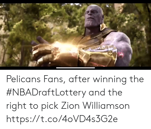 Pelicans: Pelicans Fans, after winning the #NBADraftLottery and the right to pick Zion Williamson https://t.co/4oVD4s3G2e