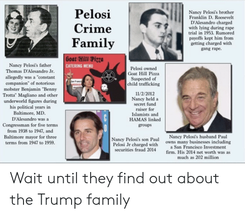 """Crime, Family, and Pizza: Pelosi  Nancy Pelosi's brother  Franklin D. Roosevelt  D'Alesandro charged  with lying during rape  trial in 1953. Rumored  Crime  payoffs kept him from  getting charged with  Family  gang rape  Goat Hill Pizza  Nancy Pelosi's father  Thomas D'Alesandro Jr.  CATERING MENU  Pelosi owned  Goat Hill Pizza  Suspected of  child trafficking  allegedly was a """"constant  companion"""" of notorious  mobster Benjamin """"Benny  Trotta"""" Magliano and other  underworld figures during  his political years in  Baltimore, MD  D'Alesandro was a  11/2/2012  Nancy held a  secret fund  raiser for  Islamists and  HAMAS linked  C  Congressman for five terms  from 1938 to 1947, and  groups  Nancy Pelosi's husband Paul  owns many businesses including  a San Francisco Investment  firm. His 2014 net worth was as  much as 202 million  Baltimore mayor for three  terms from 1947 to 1959.  Nancy Pelosi's son Paul  Pelosi Jr charged with  securities fraud 2014 Wait until they find out about the Trump family"""