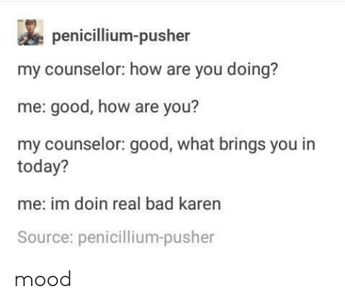 Bad, Mood, and Good: penicillium-pusher  my counselor: how are you doing?  me: good, how are you?  my counselor: good, what brings you in  today?  me: im doin real bad karen  Source: penicillium-pusher mood