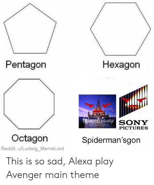 avenger: Pentagon  Нехадon  AuDiSNEp SONY  STUDIOS  PICTURES  Octagon  Spiderman'sgon  Reddit: u/Ludwig_MemeLord This is so sad, Alexa play Avenger main theme
