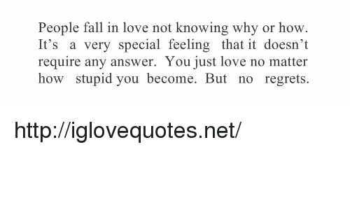no regrets: People fall in love not knowing why or hovw  It's a very special feeling that it doesn't  require any answer. You just love no matter  how stupid you become. But no regrets. http://iglovequotes.net/