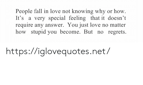 How Stupid: People fall in love not knowing why or how  It's a very special feeling that it doesn't  require any answer. You just love no matter  how stupid you become. But no regrets https://iglovequotes.net/