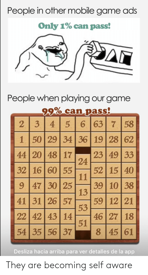 De La: People in other mobile game ads  Only 1% can pass!  People when playing our game  99% can pass!  23 4 5 | 6 |63 7 58  1 50 29 34 36 | 19 28 62  44 20 48 17  23 49 33  24  52 15 40  11  39 10 38  13  59 12 21  53  46 27 18  51  8 45 61  32 16 60 55  9 47 30 25  41 31 26 57  22 42 43 14  54 35 56 37  Desliza hacia arriba para ver detalles de la app They are becoming self aware