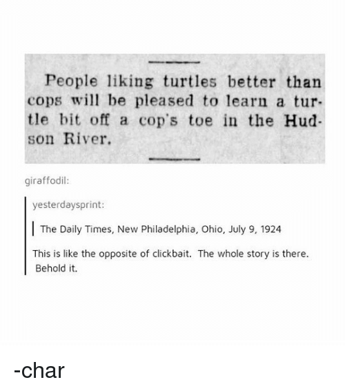 hud: People liking turtles better than  cops wil be pleased to learn a tur-  tle bit off a cop's toe in the Hud  son River.  giraffodil  yesterdaysprint:  The Daily Times, New Philadelphia, Ohio, July 9, 1924  This is like the opposite of clickbait. The whole story is there  Behold it. -char