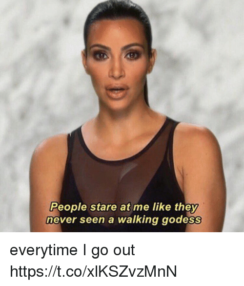 Girl Memes, Never, and They: People stare at me like they  never seen a walking godes everytime I go out https://t.co/xlKSZvzMnN