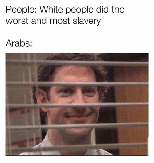 Memes, The Worst, and White People: People: White people did the  worst and most slavery  Arabs: