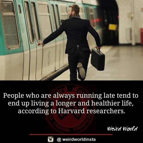 Running Late: People who are always running late tend to  end up living a longer and healthier life,  according to Harvard researchers.  Weird World  @ weirdworldinsta