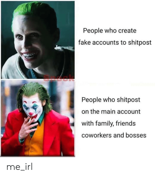 Coworkers: People who create  fake accounts to shitpost  People who shitpost  the main account  with family, friends  coworkers and bosses me_irl