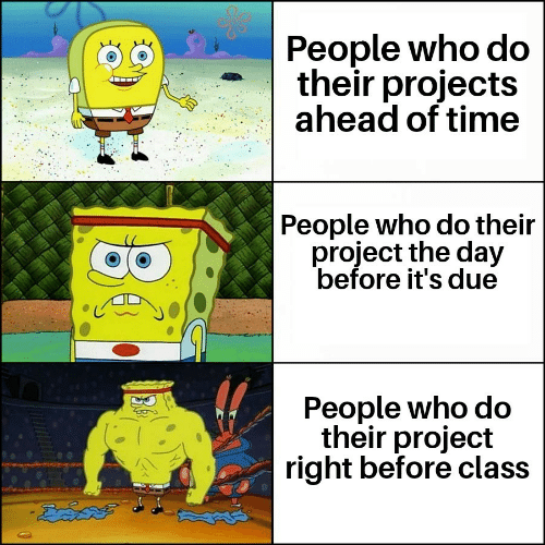 Time, Class, and Who: People who do  their projects  ahead of time  People who do their  project the day  before it's due  People who do  their project  right before class  చేదవతో