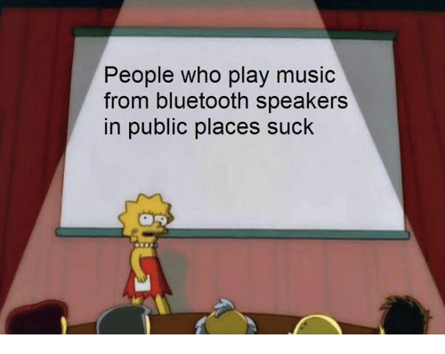 Play Music: People who play music  from bluetooth speakers  in public places suck