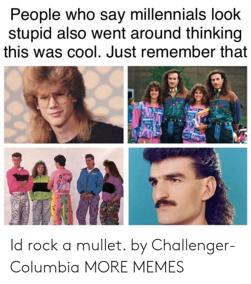 Columbia: People who say millennials loohk  stupid also went around thinking  this was cool. Just remember that Id rock a mullet. by Challenger-Columbia MORE MEMES