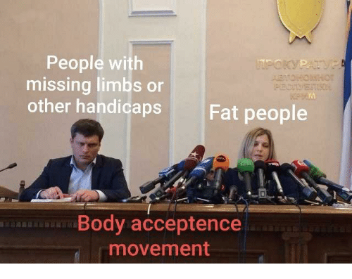 fat people: People with  missing limbs or  other handicaps  Fat people  Body acceptence  movement