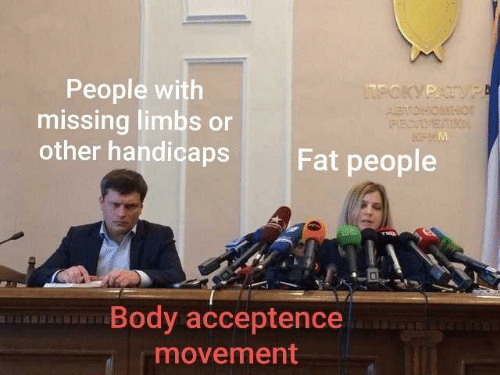 Fat, Fat People, and People: People with  missing limbs or  other handicaps  POKYPATV  AEATOHONHor  PECVETIO  Fat people  Body acceptence  movement